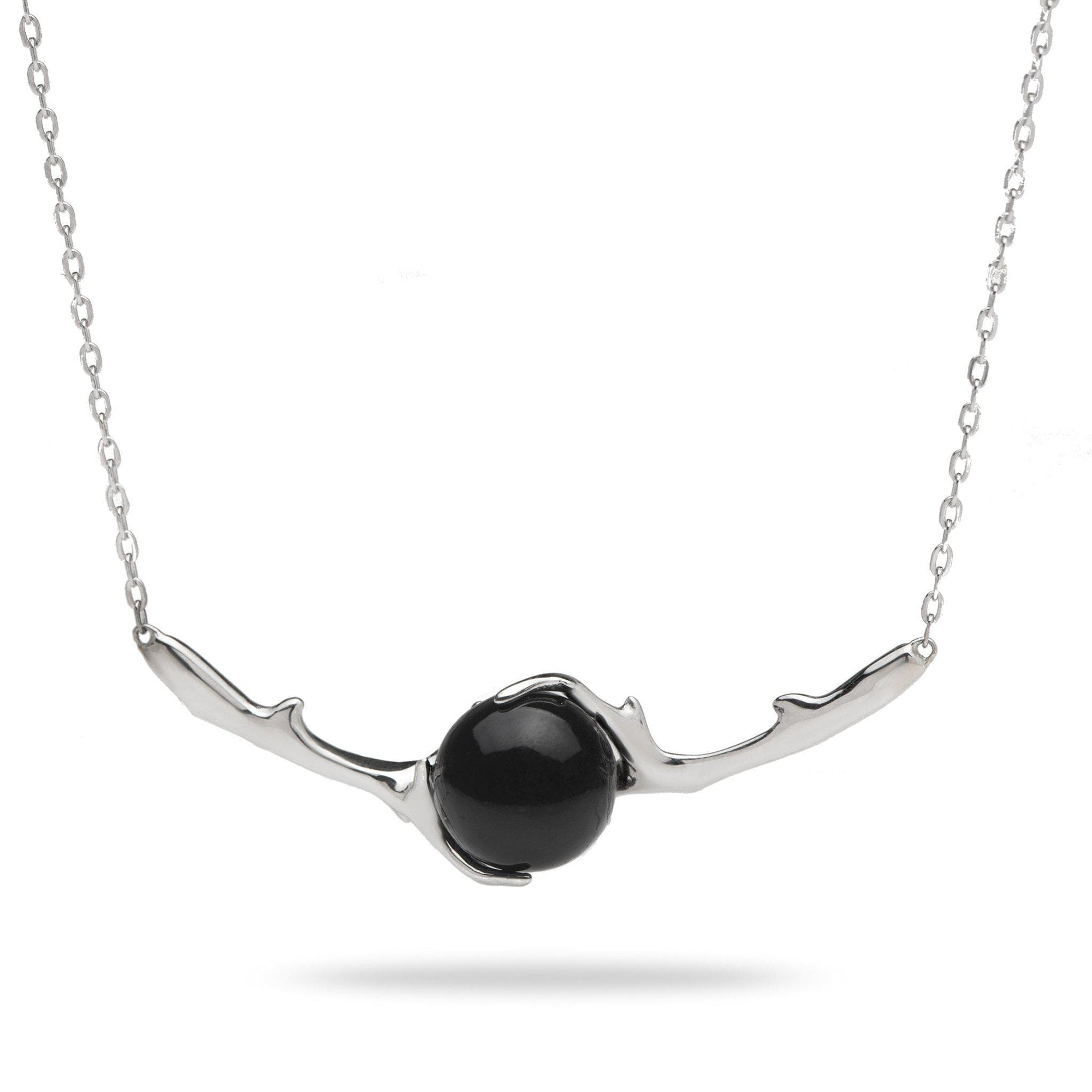 Hawaiian Heritage Black Coral Necklace in White Gold-[SKU]