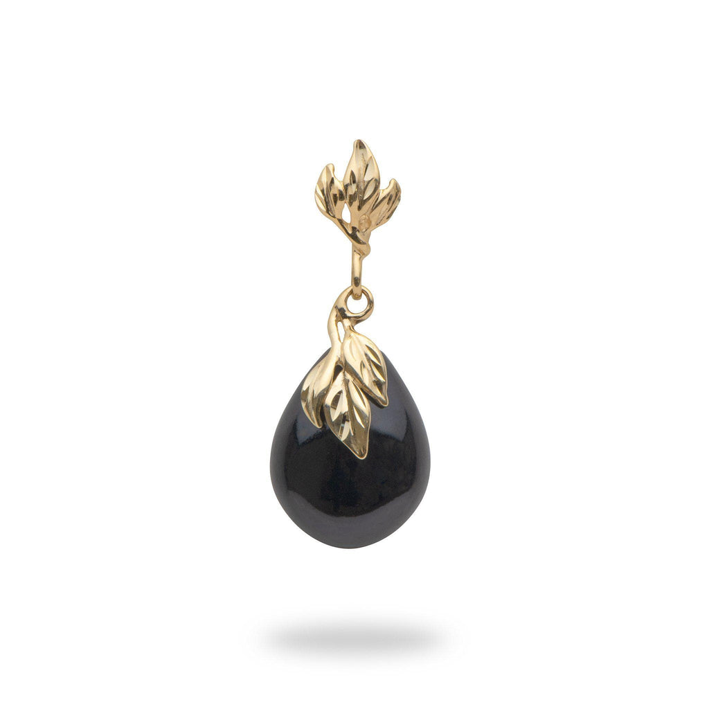 Black Coral Diamond Cut 6 Leaf Pendant in 14K Yellow Gold-[SKU]