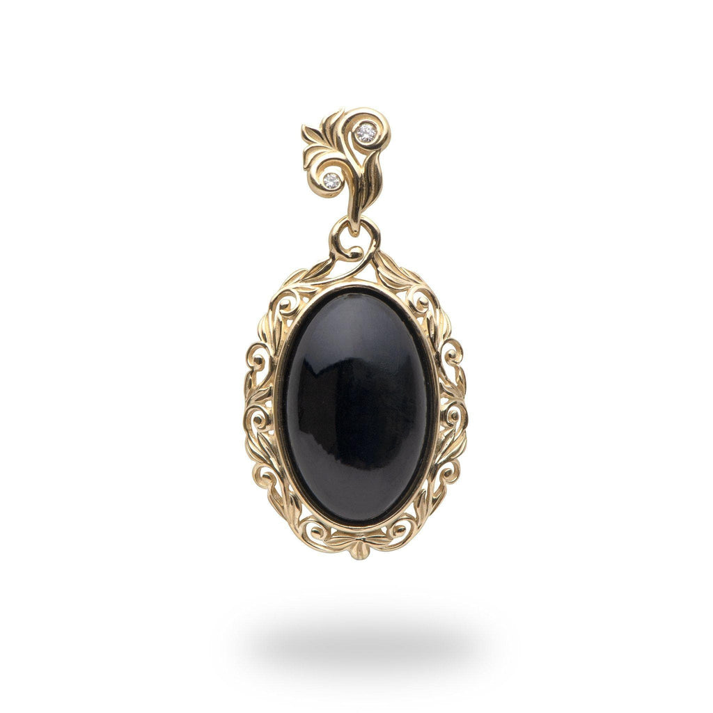 Living Heirloom Black Coral Pendant in 14K Yellow Gold with Diamonds 015-07017
