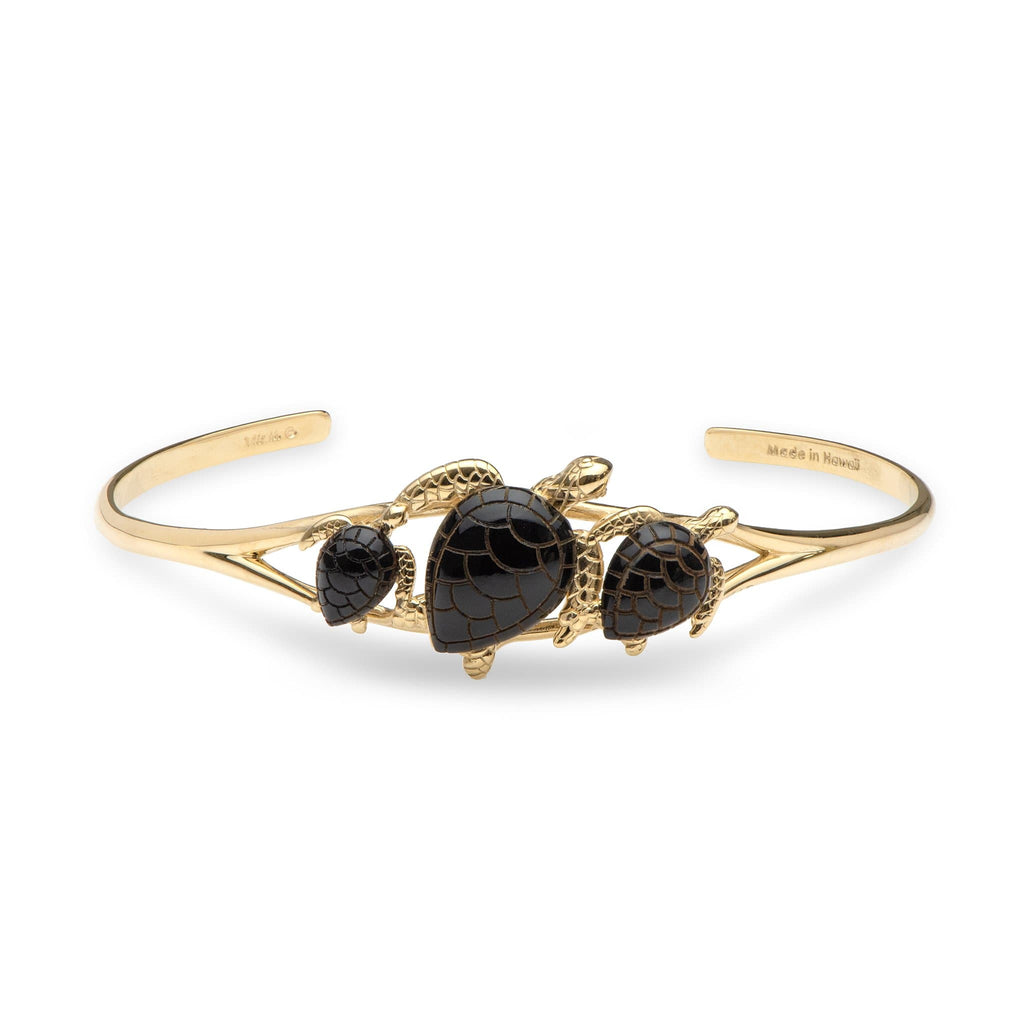 Black Coral Turtle Cuff Bracelet in 14K Yellow Gold