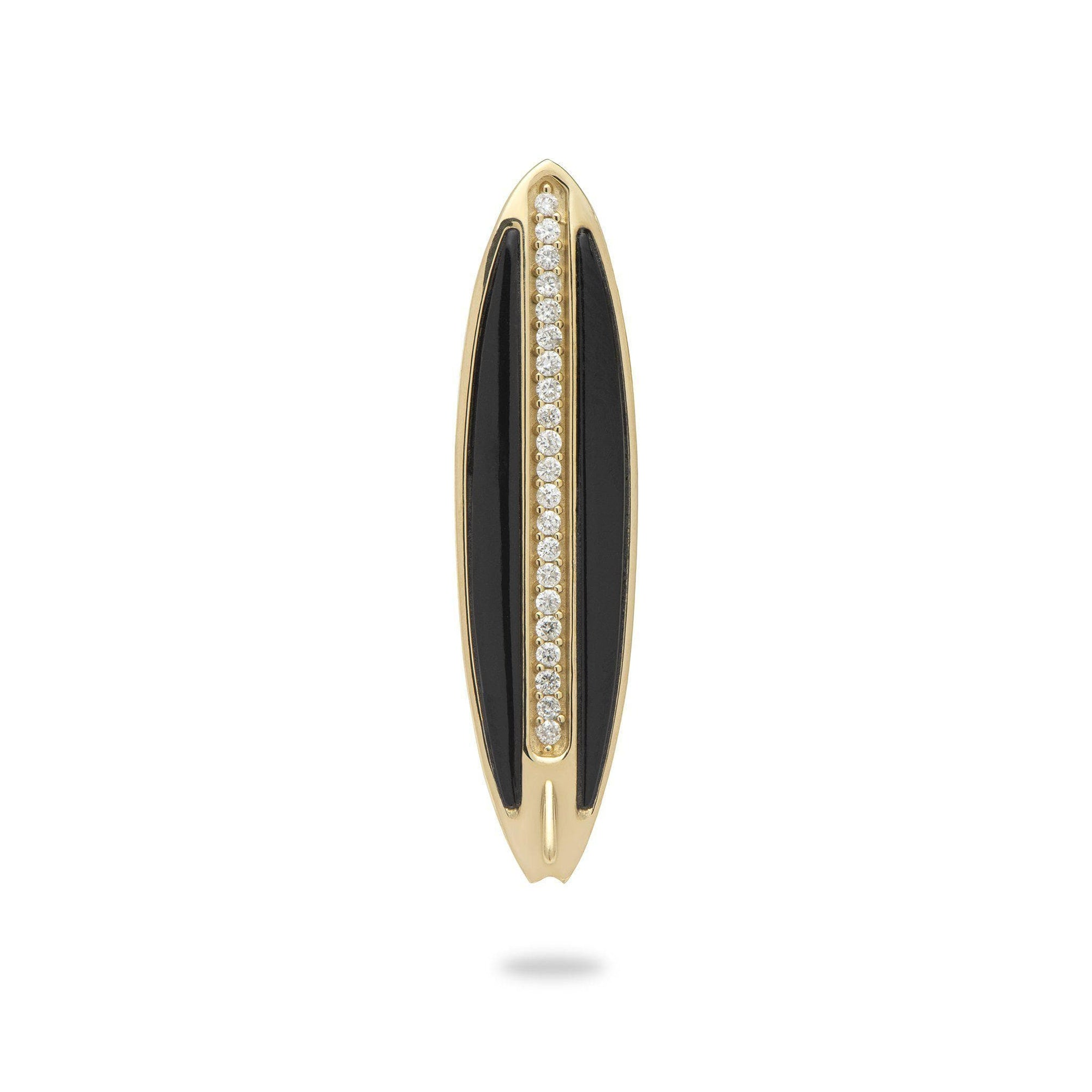 Sealife Surfboard Black Coral Pendant in Gold with Diamonds - 31mm-[SKU]