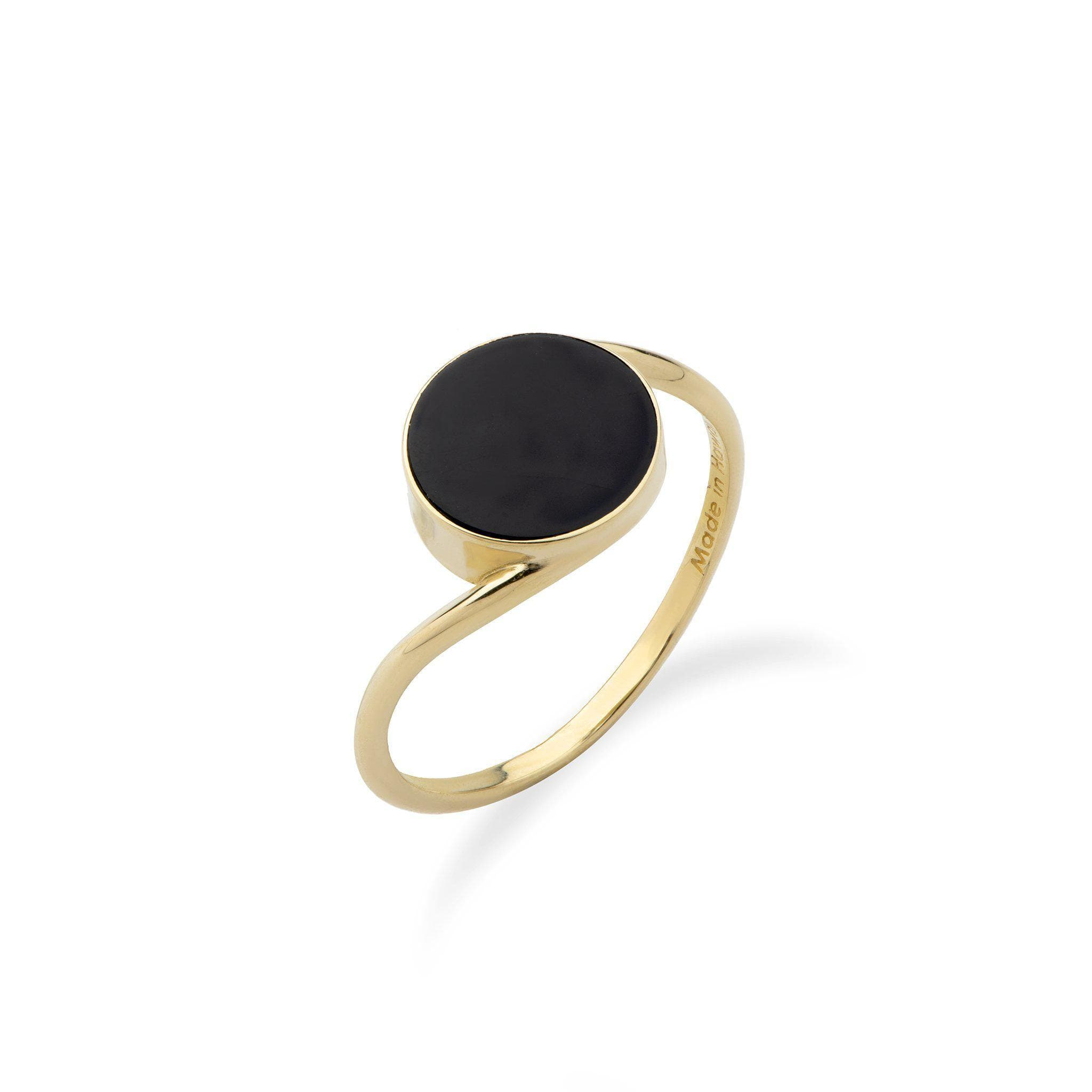 Black Coral Eclipse Bypass Ring in 14K Yellow Gold
