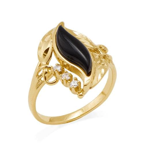 Black Coral Paradise Ring in 14K Yellow Gold with Diamonds-015-49638