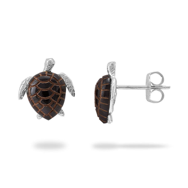 Honu Black Coral Earrings in White Gold - 12mm-Maui Divers Jewelry