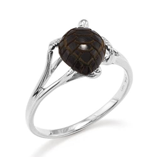 Black Coral Turtle Ring in 14K White Gold