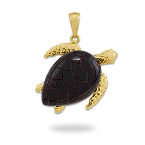 Black Coral Turtle Pendant in 14K Yellow Gold - Extra Large