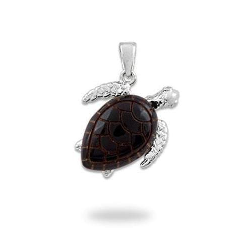 Honu Black Coral Pendant in White Gold with Diamonds - 16mm