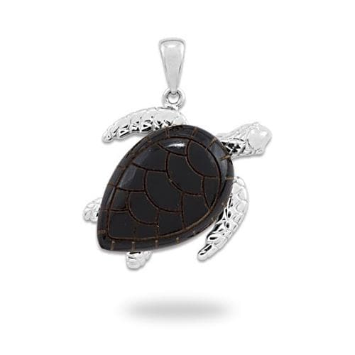 Honu Black Coral Pendant in White Gold - 26mm