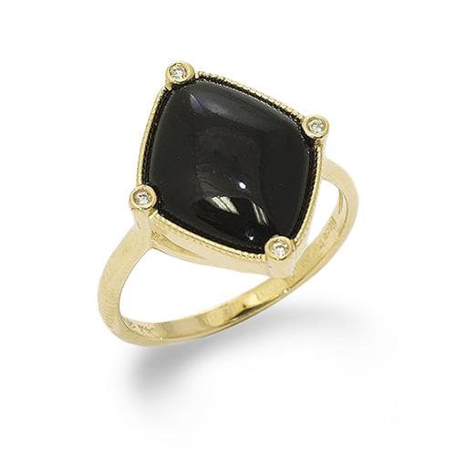 Black Coral Ring in 14K Yellow Gold with Diamonds-015-60023