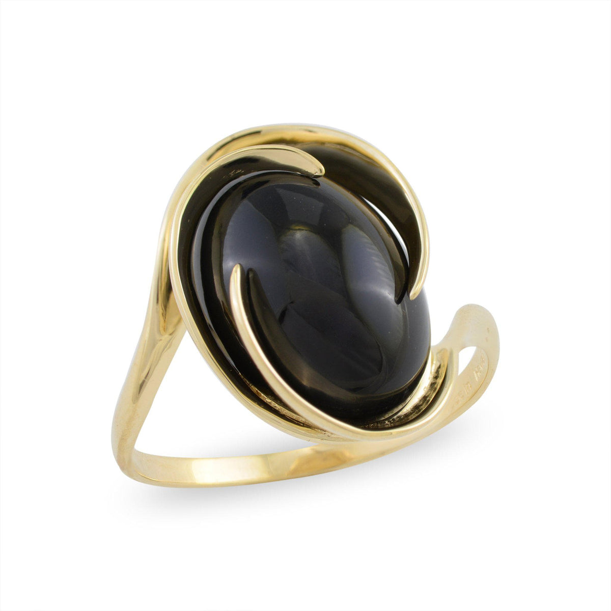 Black Coral Midnight Wave Ring in 14K Yellow Gold 015-60024