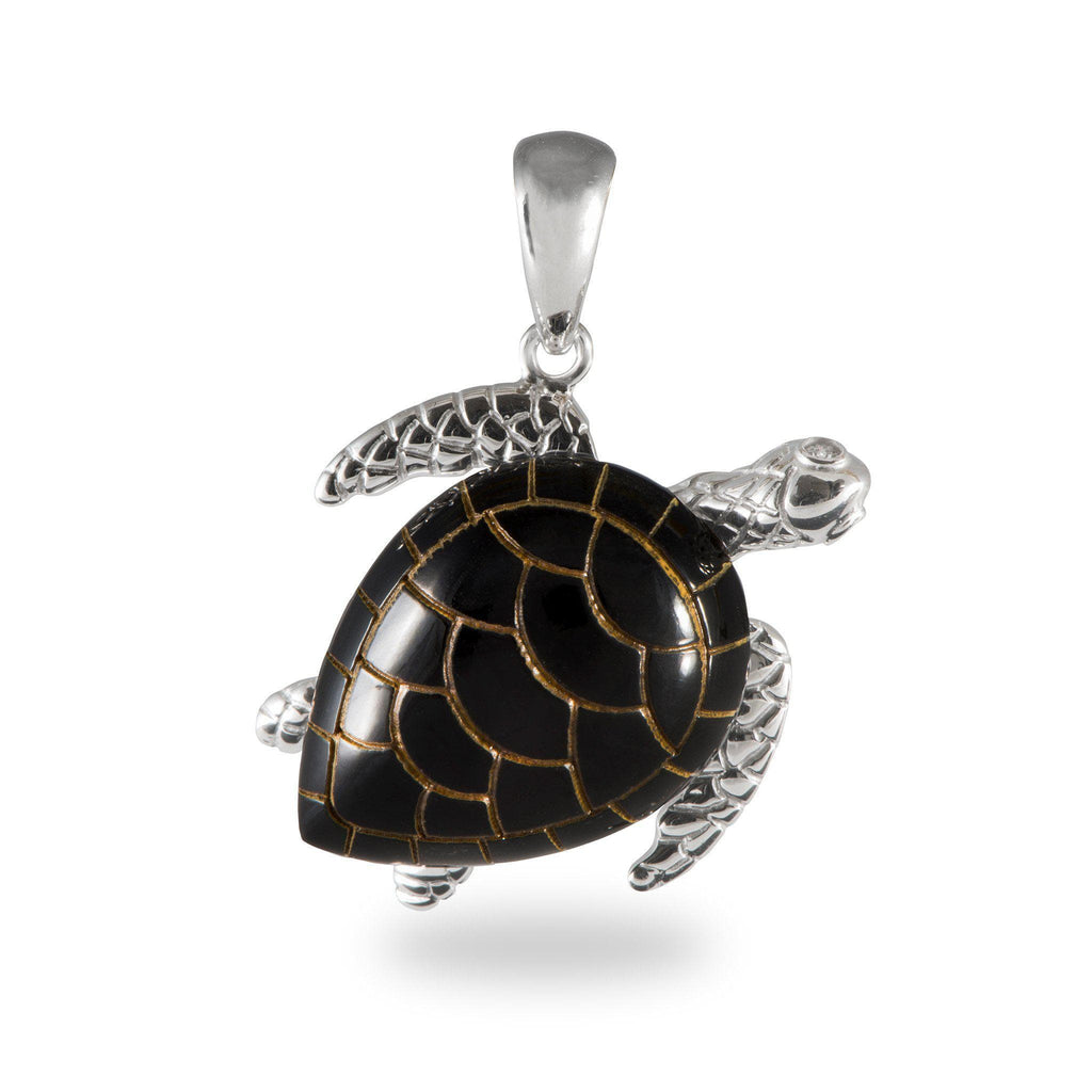 Honu Black Coral Pendant in White Gold with Diamonds - 26mm-[SKU]