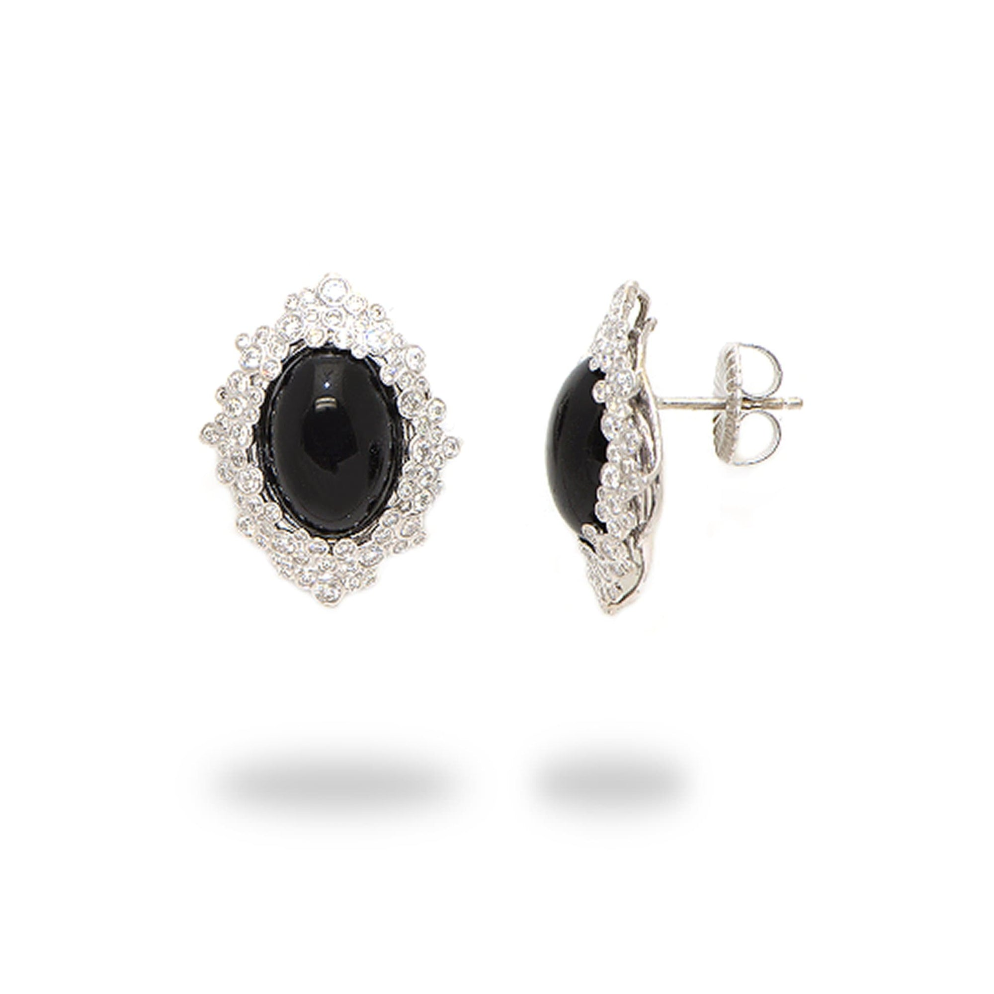 Hawaiian Black Coral Earrings with Diamonds in 18K White Gold (14-10mm) - Maui Divers Jewelry