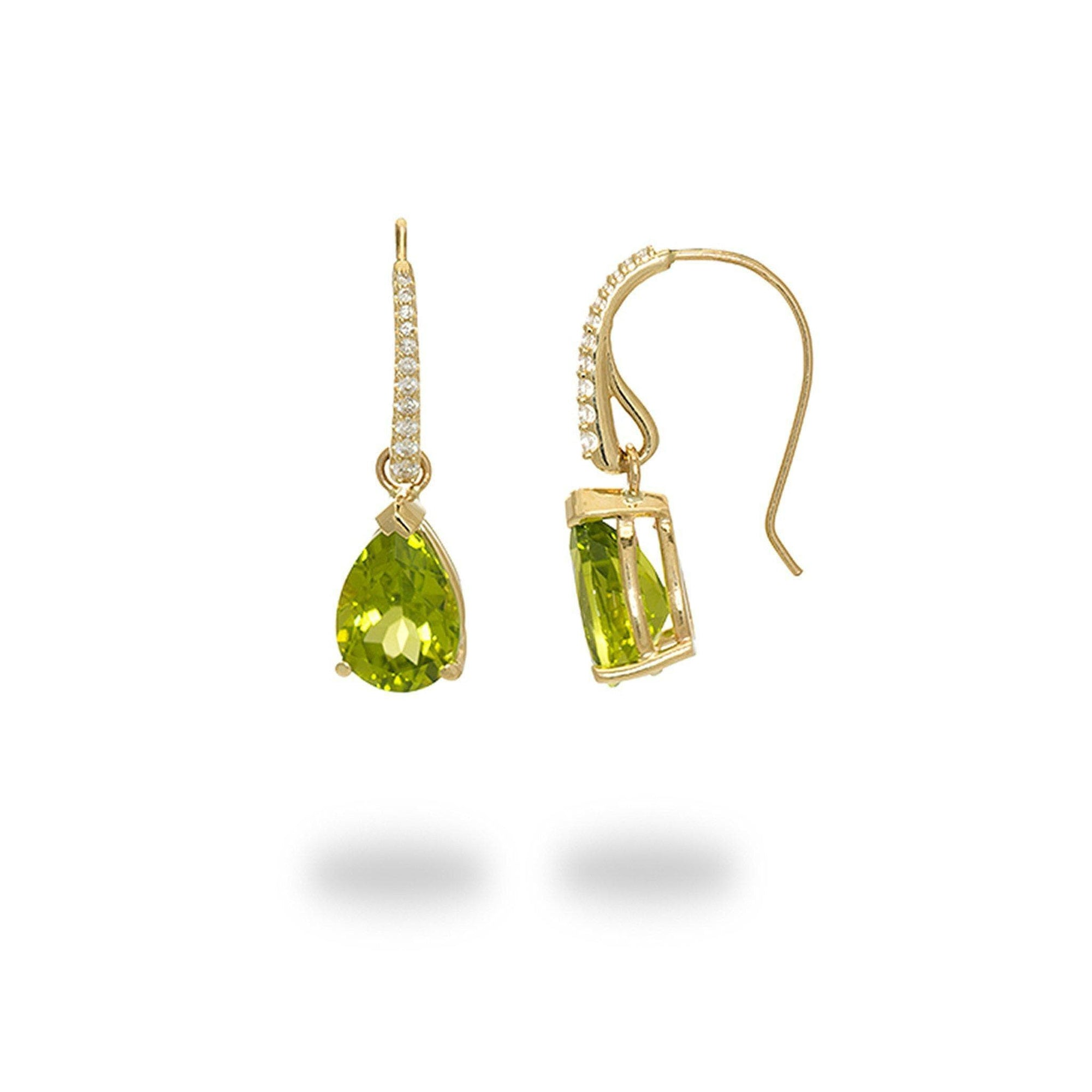 Peridot Hook Earrings with Diamonds in 14K Yellow Gold - Maui Divers Jewelry