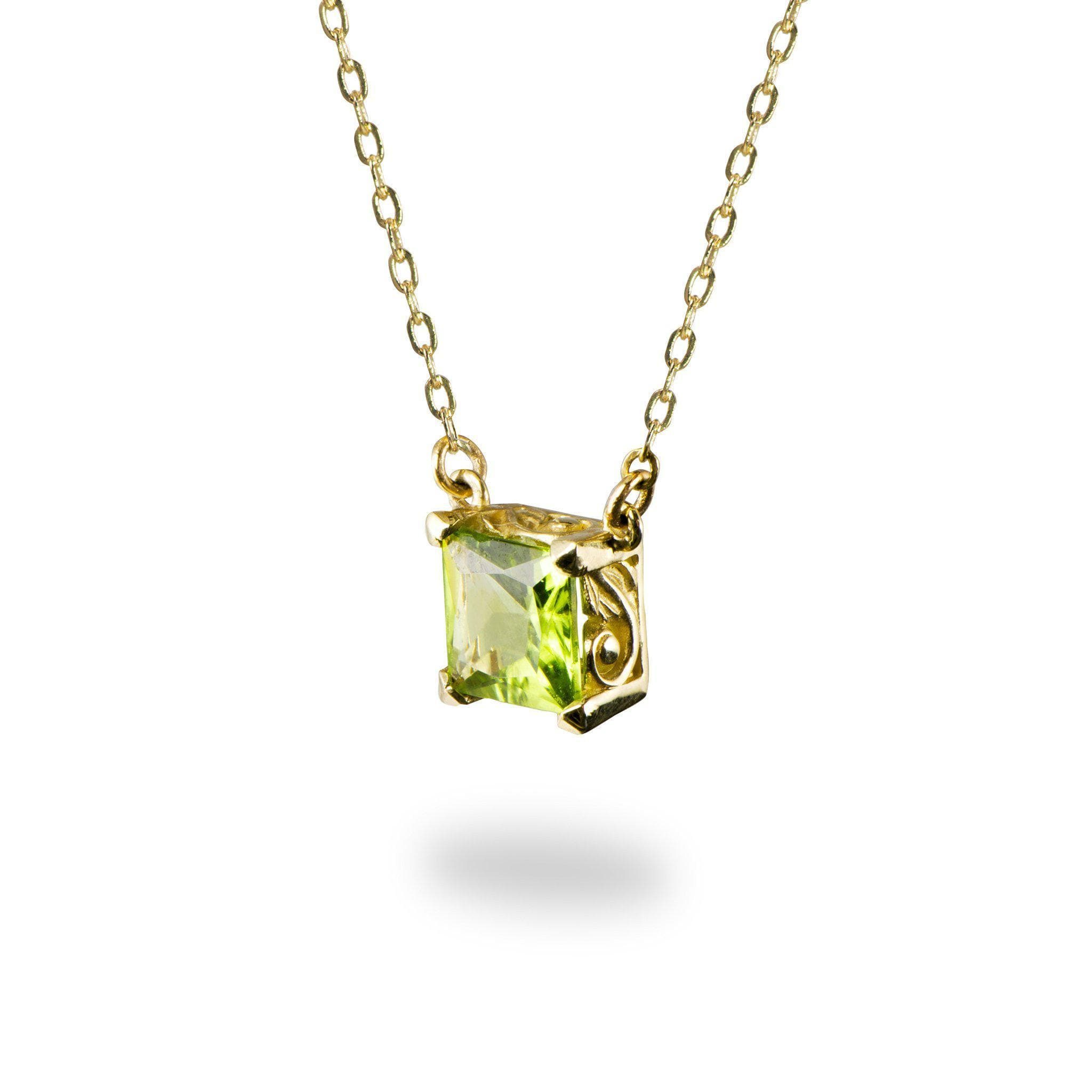 round bezel in m set necklaces p solitaire white peridot gold necklace
