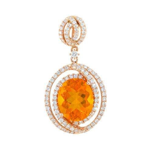 Shop fire opal jewelry online fiery red orange fire opal pendant with diamonds in 14k rose gold aloadofball Choice Image