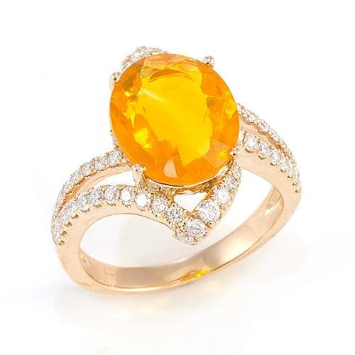 Fire Opal Ring with Diamonds in 14K Rose Gold
