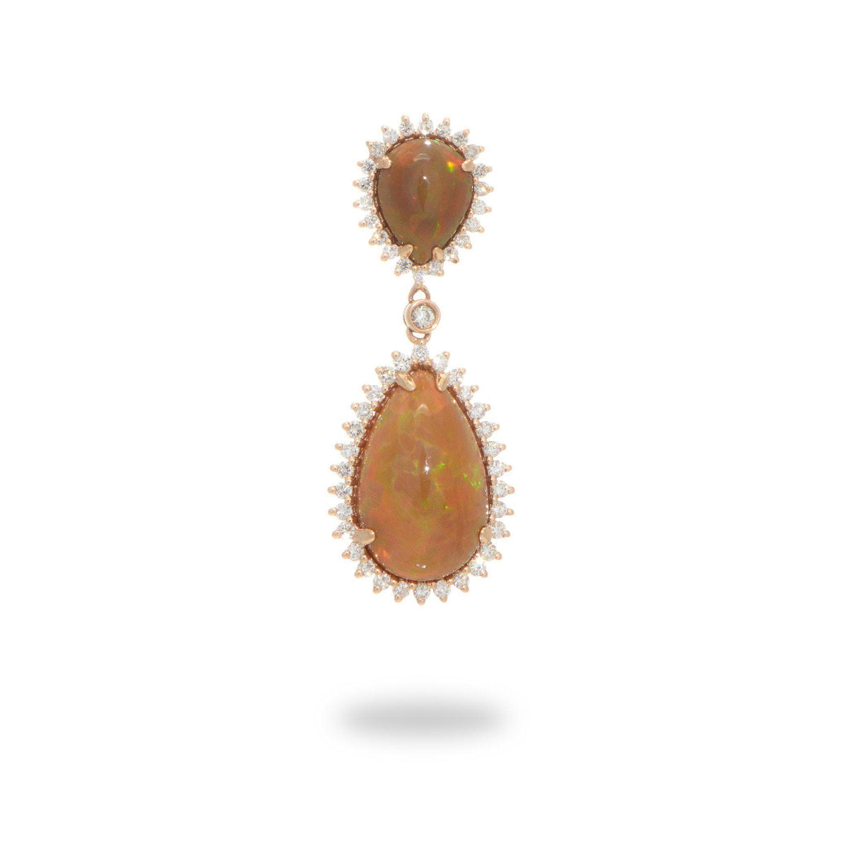 Opal Pear-shaped Drop Pendant with Diamonds in 14K Rose Gold-[SKU]