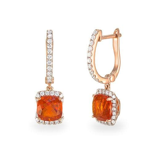 Fire Opal Earrings With Diamonds In 14k Rose Gold