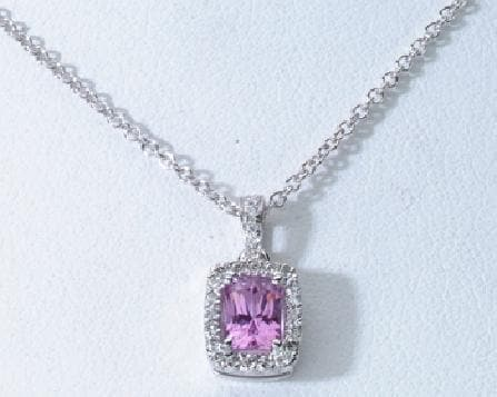 Pink Sapphire Necklace in 18K White Gold