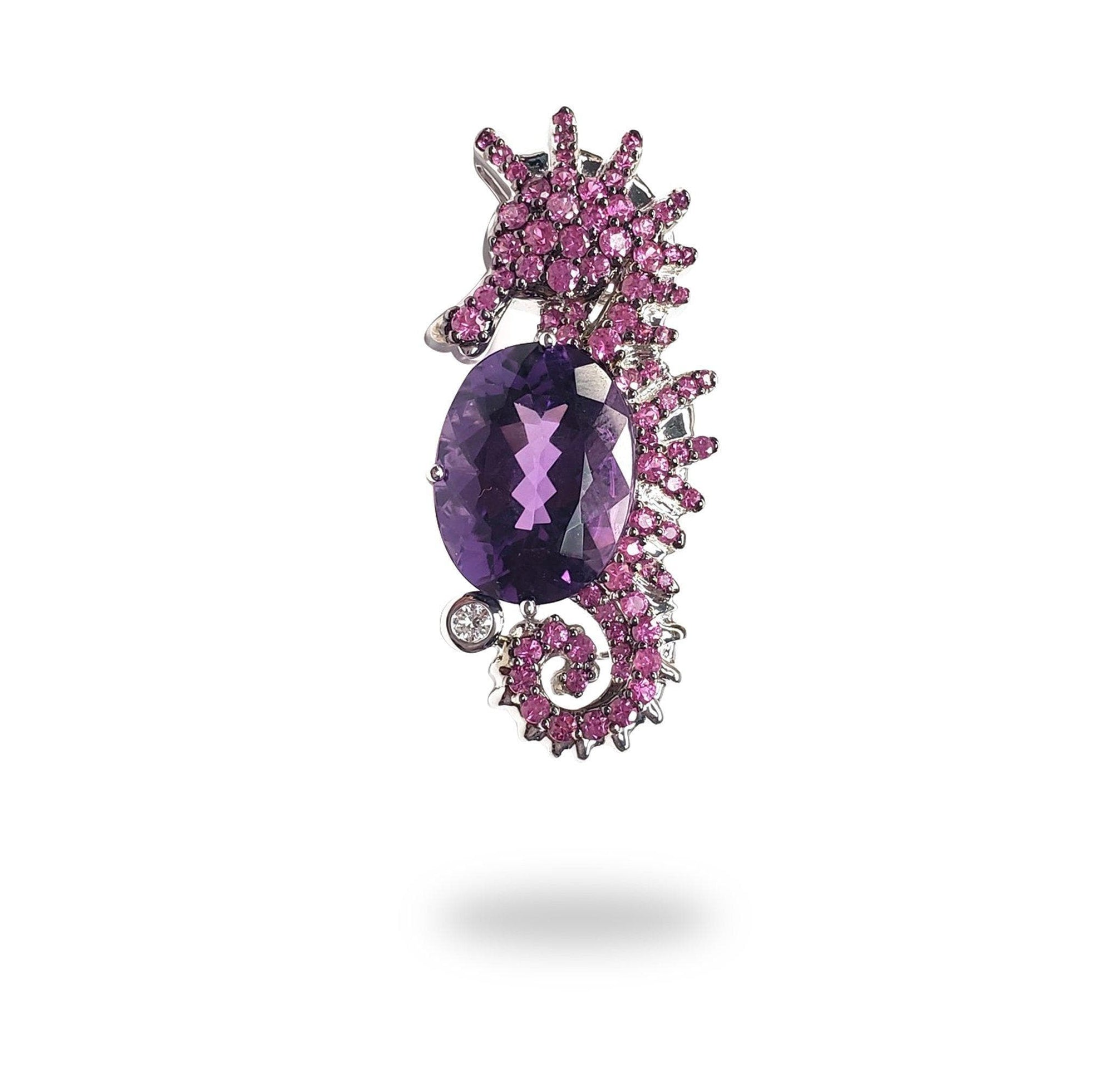 Seahorse Pendant with Pink Sapphires and Amethysts