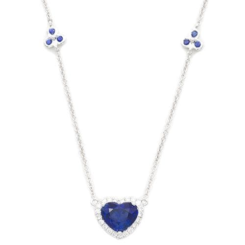 Sapphire Necklace with Diamonds in 18K White Gold