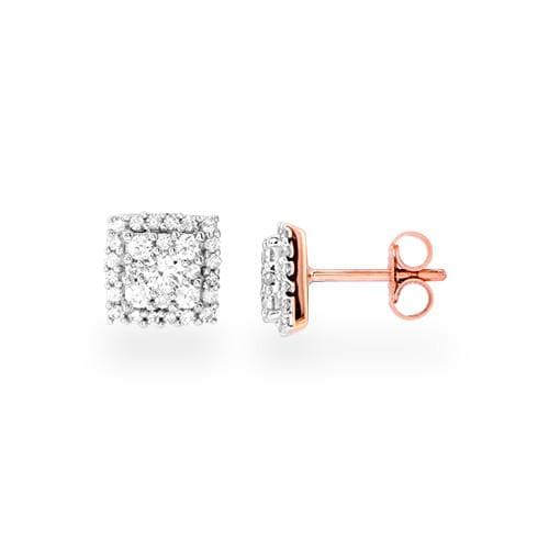 Diamond Earrings in 14K Two-Tone Gold