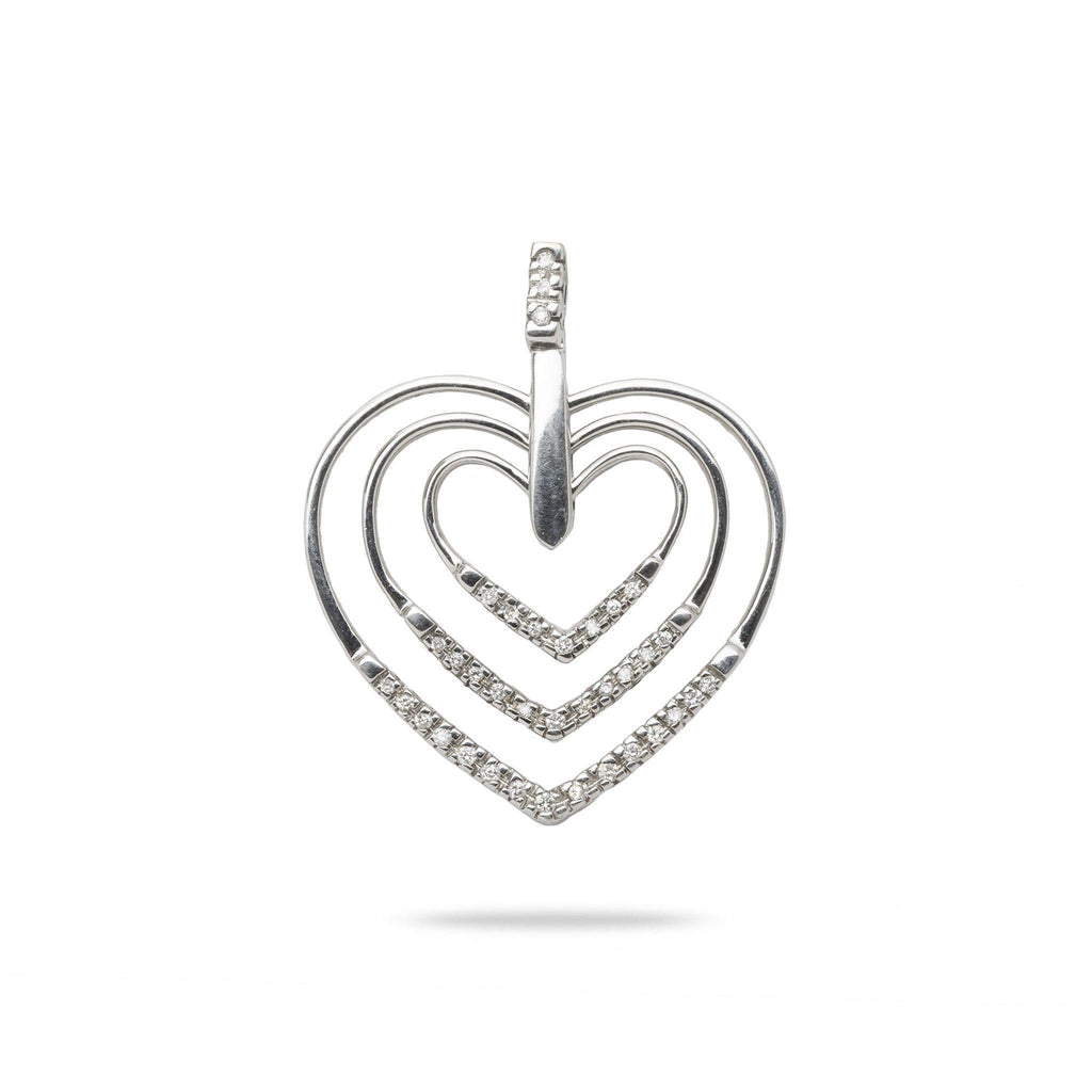 Triple Heart Pendant with Diamonds in 14K White Gold - Maui Divers Jewelry