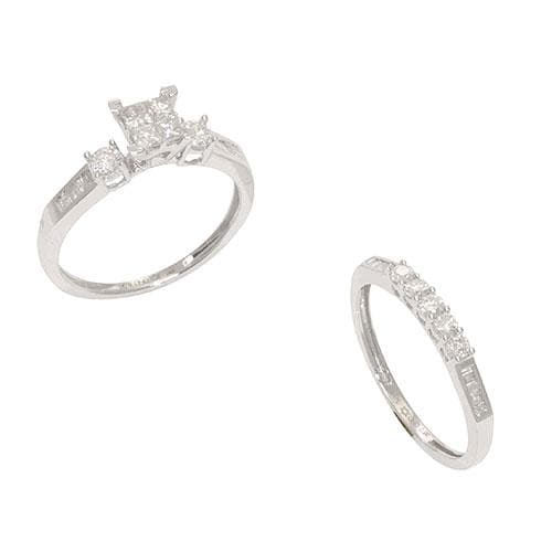 Diamond Bridal Ring Set in White Gold-Size 7-[SKU]