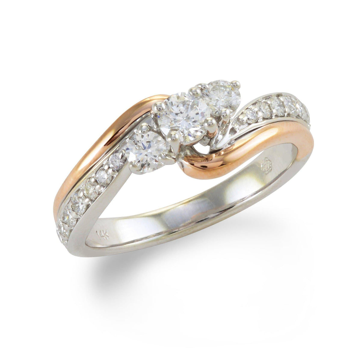 Diamond Ring in 14K White and Rose Gold-[SKU]