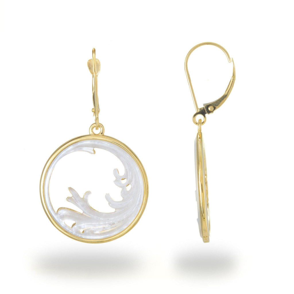 Nalu (Wave) Splash Mother of Pearl Earrings in 14K Yellow Gold - 22mm 031-00223