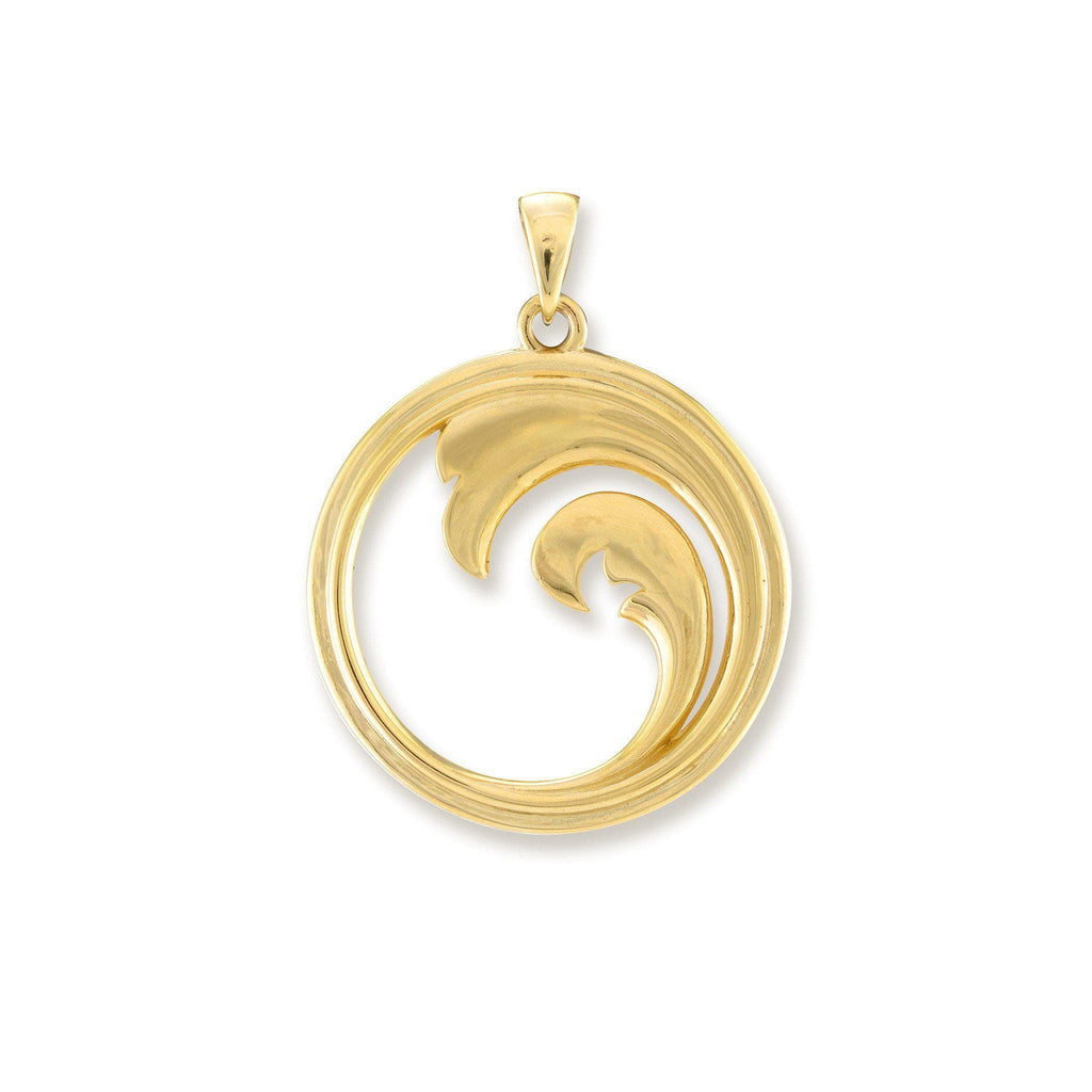 Double Nalu (Wave) Mother of Pearl Pendant in 14K Yellow Gold - 22mm back 031-00226