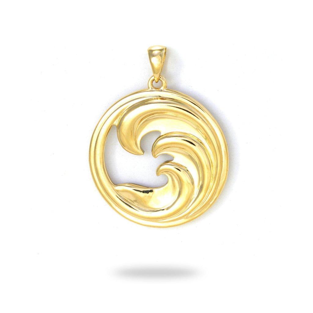 Triple Nalu (Wave) Mother of Pearl Pendant in 14K Yellow Gold - 22mm 031-00227