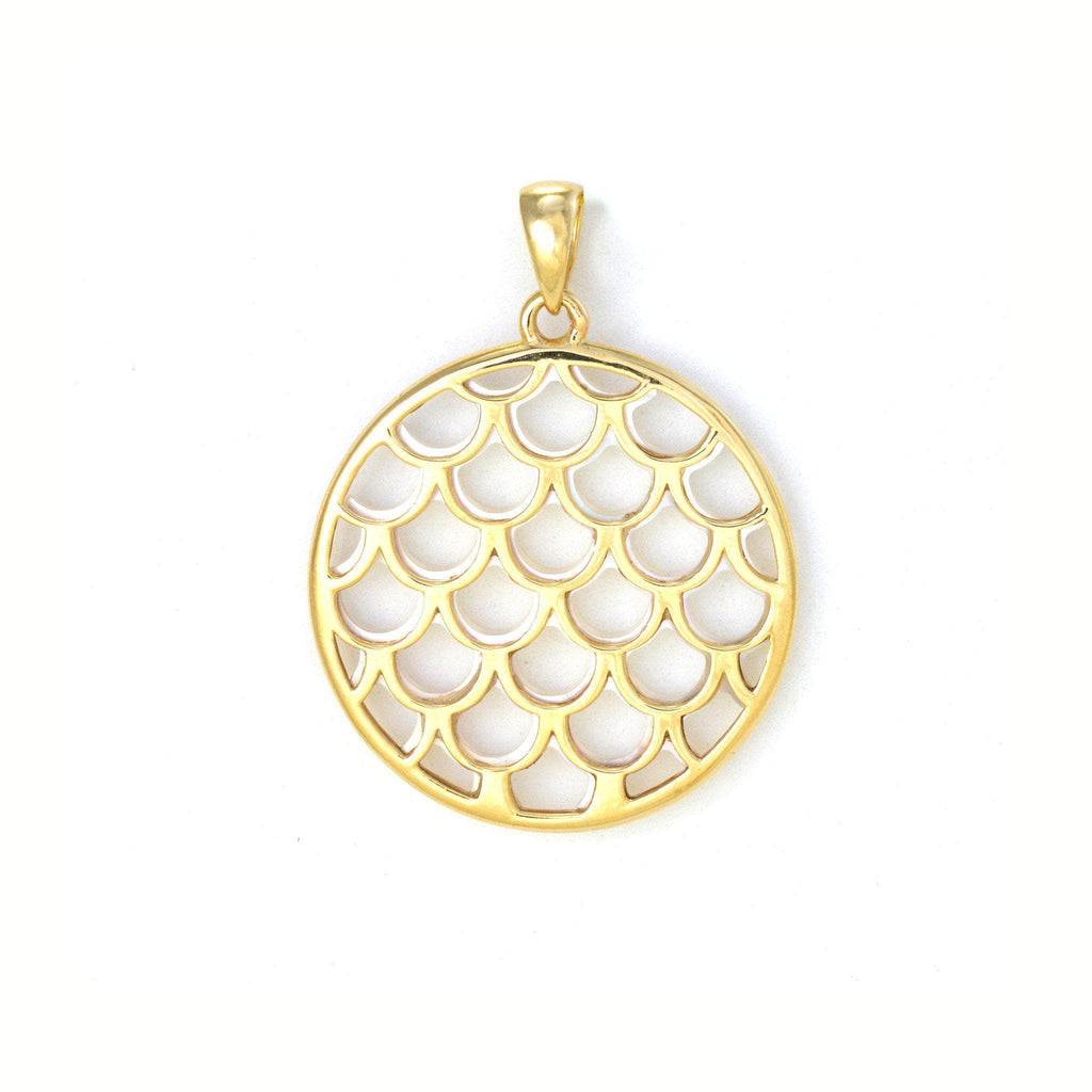 Mermaid Scale Mother of Pearl Pendant in 14K Yellow Gold - 22mm Back 031-00228