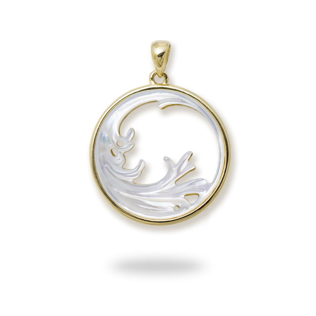 Nalu (Wave) Splash Mother of Pearl Pendant in 14K Yellow Gold - 22mm 031-00229