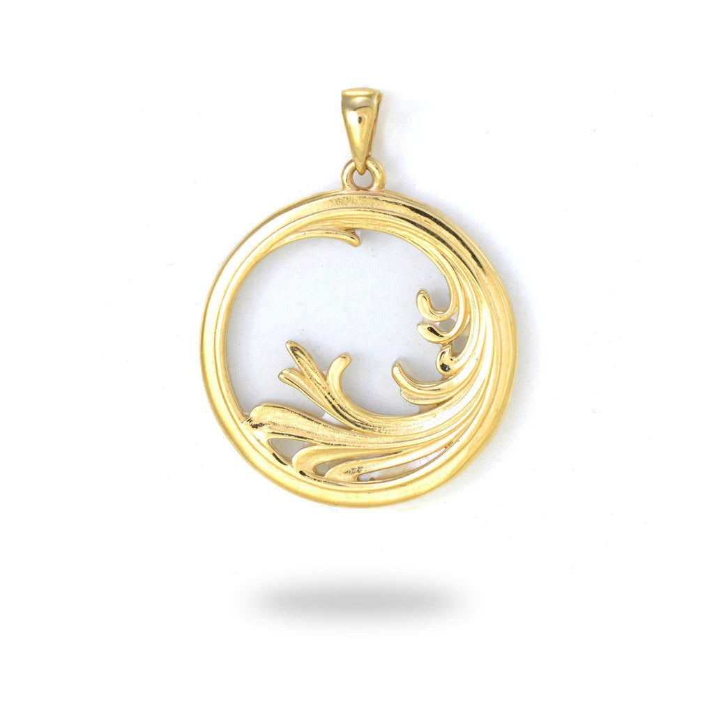 Nalu (Wave) Splash Mother of Pearl Pendant in 14K Yellow Gold - 22mm back 031-00229