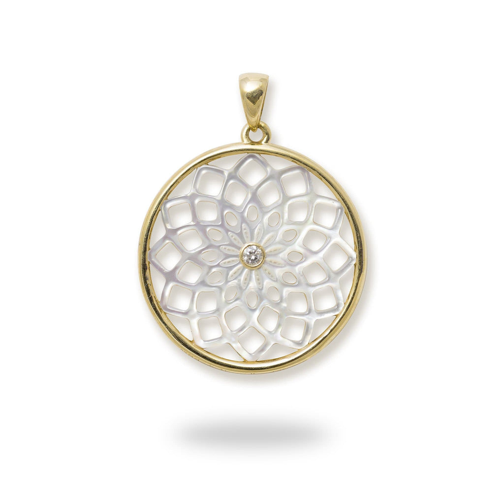 Protea Mother of Pearl Pendant with Diamond in 14K Yellow Gold - 22mm 031-00231