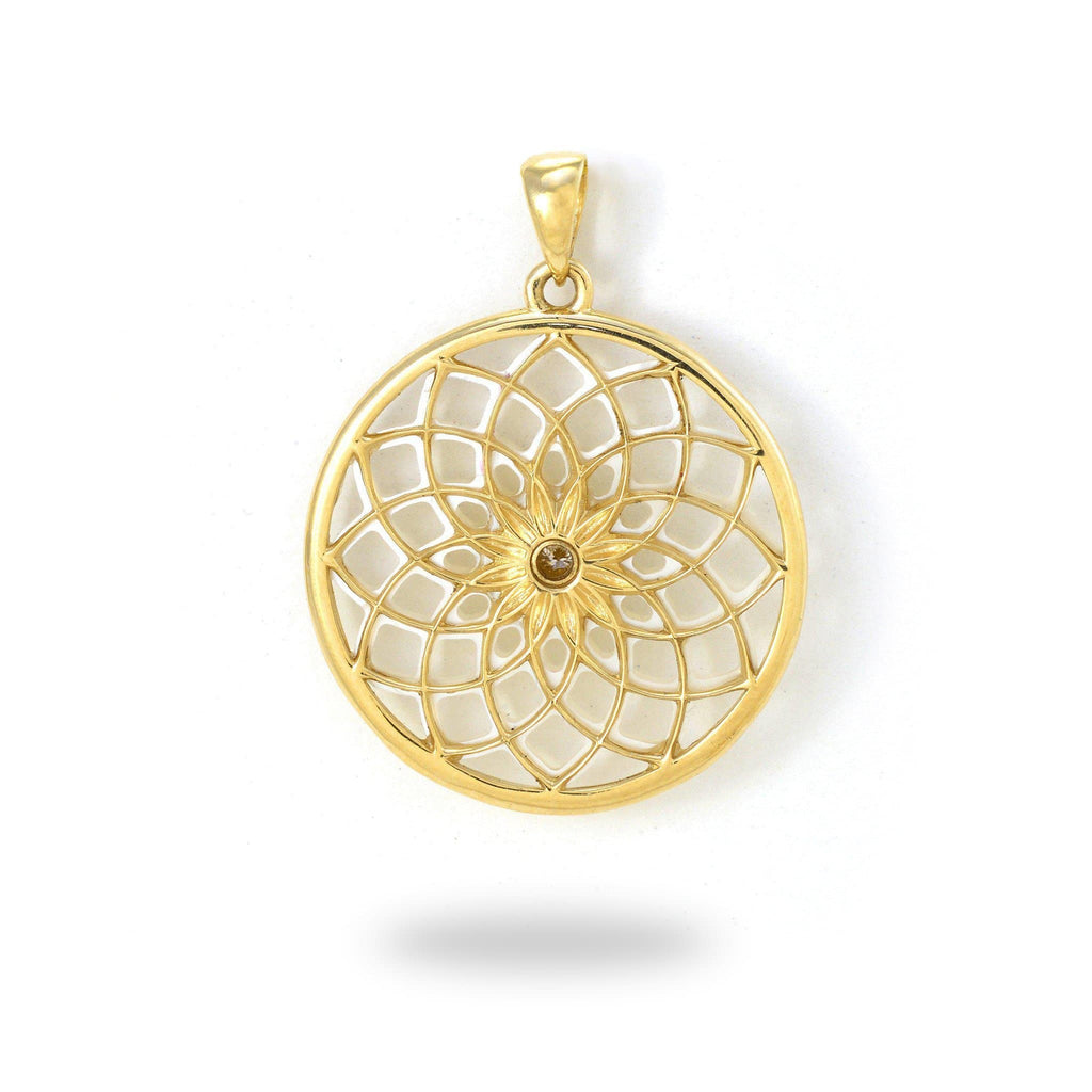 Protea Mother of Pearl Pendant with Diamond in 14K Yellow Gold - 22mm Back