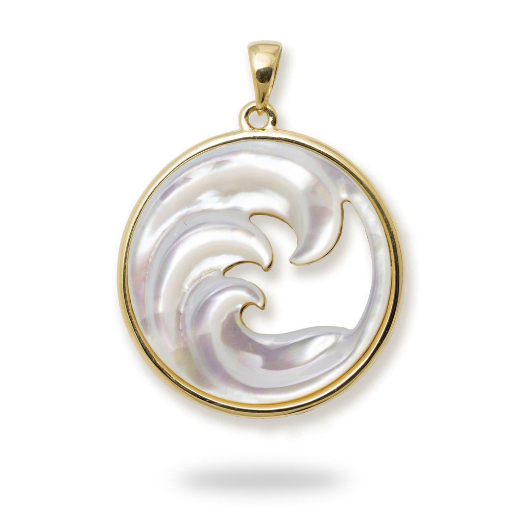 Triple Nalu (Wave) Mother of Pearl Pendant in 14K Yellow Gold - 27mm 031-00232
