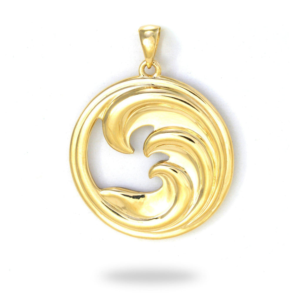 Triple Nalu (Wave) Mother of Pearl Pendant in 14K Yellow Gold - 27mm back 031-00232