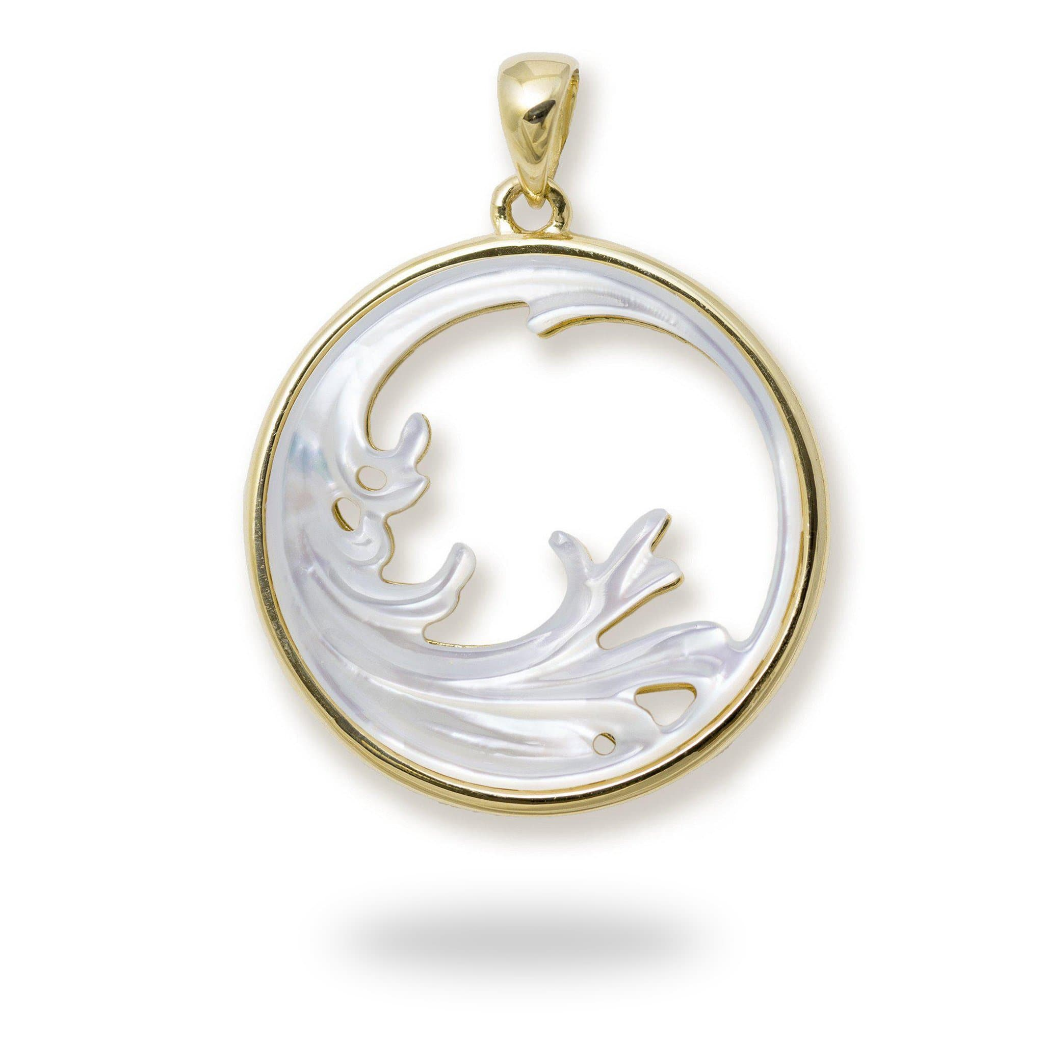 mother of pearl pendant. Nalu (Wave) Splash Mother Of Pearl Pendant In 14K Yellow Gold - 27mm 031