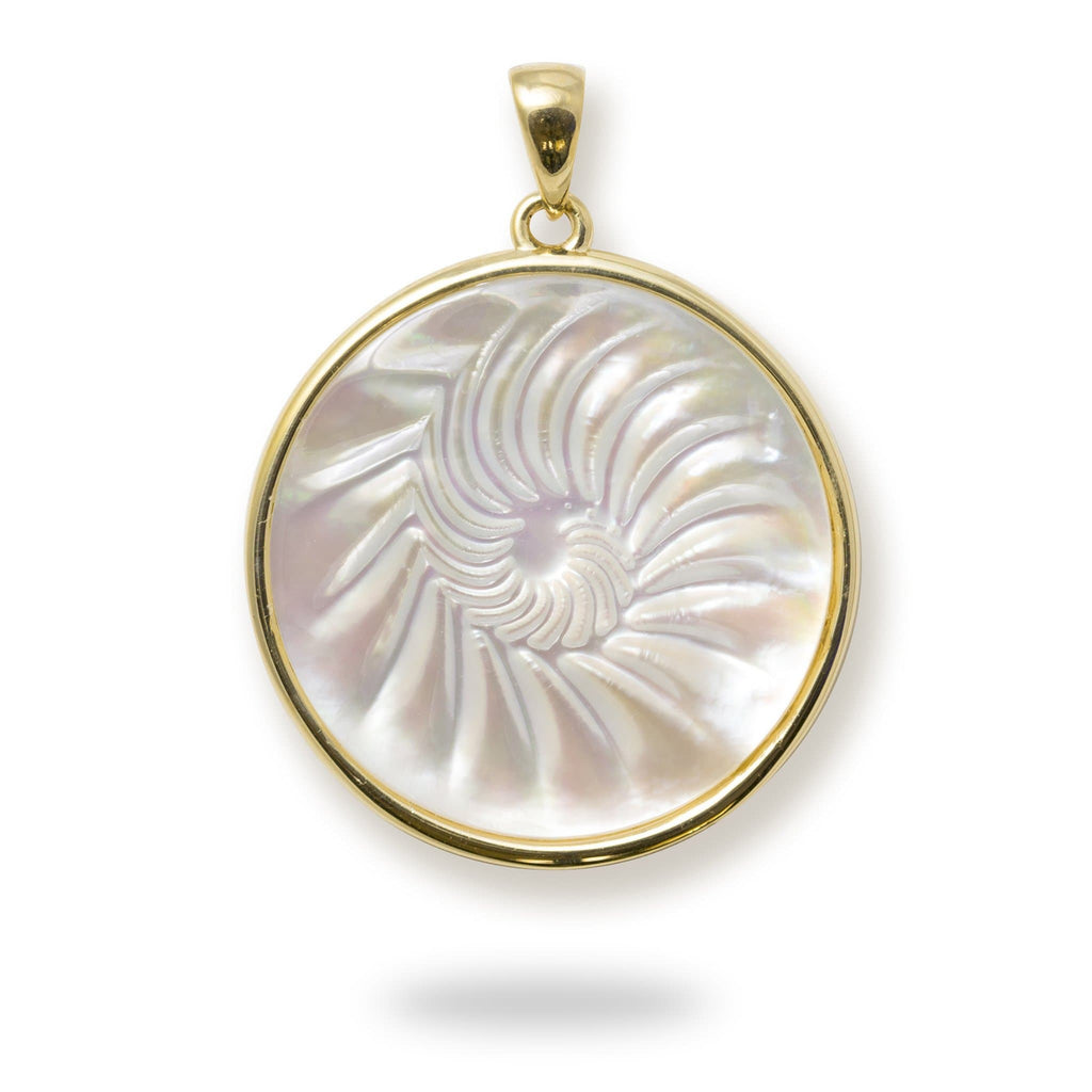 Nautilus Mother of Pearl Pendant in 14K Yellow Gold - 27mm 031-00235