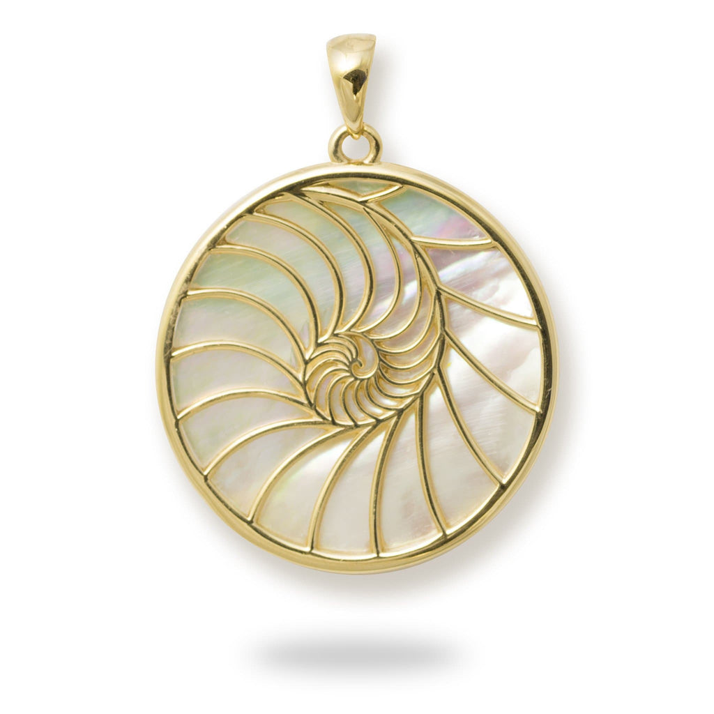 Nautilus Mother of Pearl Pendant in 14K Yellow Gold - 27mm back 031-00235