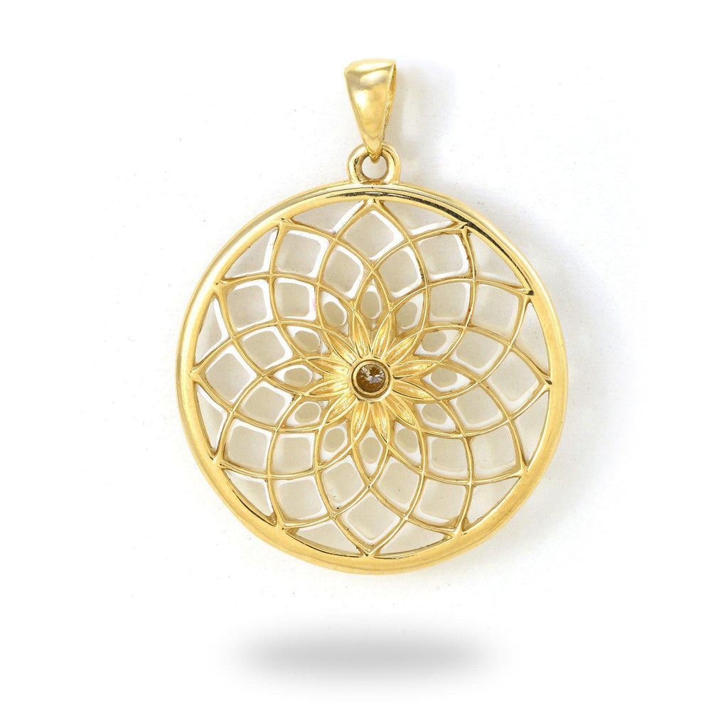 Protea Mother of Pearl Pendant with Diamond in 14K Yellow Gold - 27mm back 031-00236