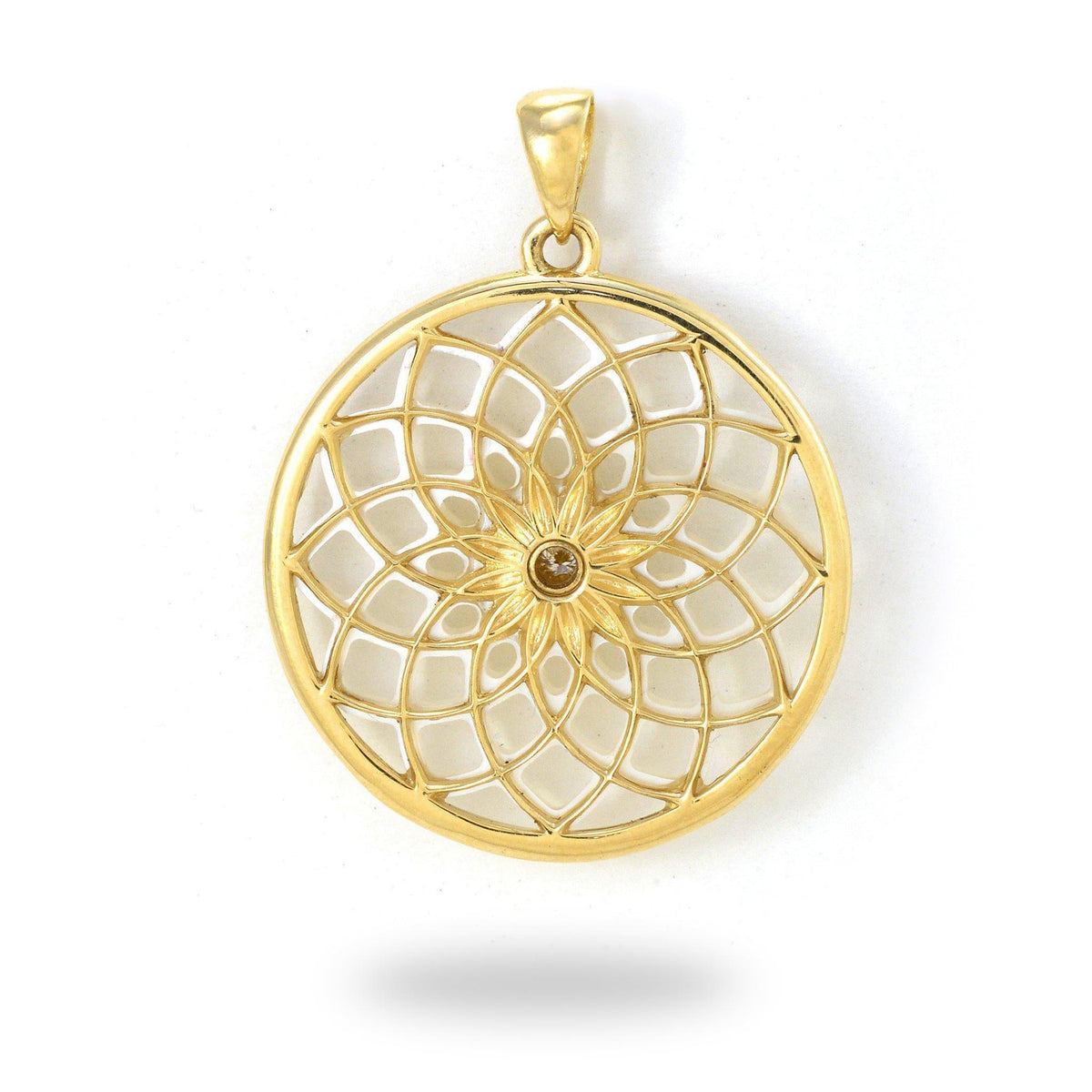 Protea Mother of Pearl Pendant with Diamond in 14K Yellow Gold - 27mm