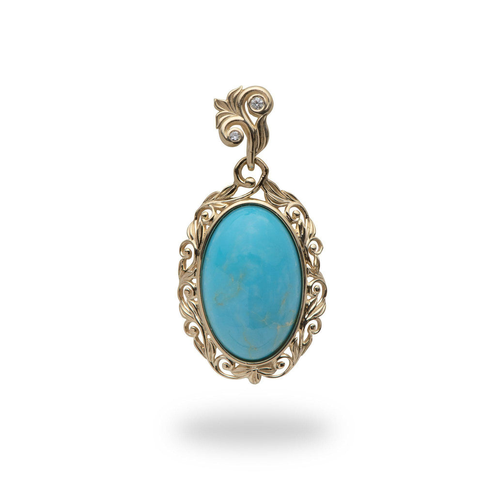 Turquoise Pendant in 14K Yellow Gold - Medium