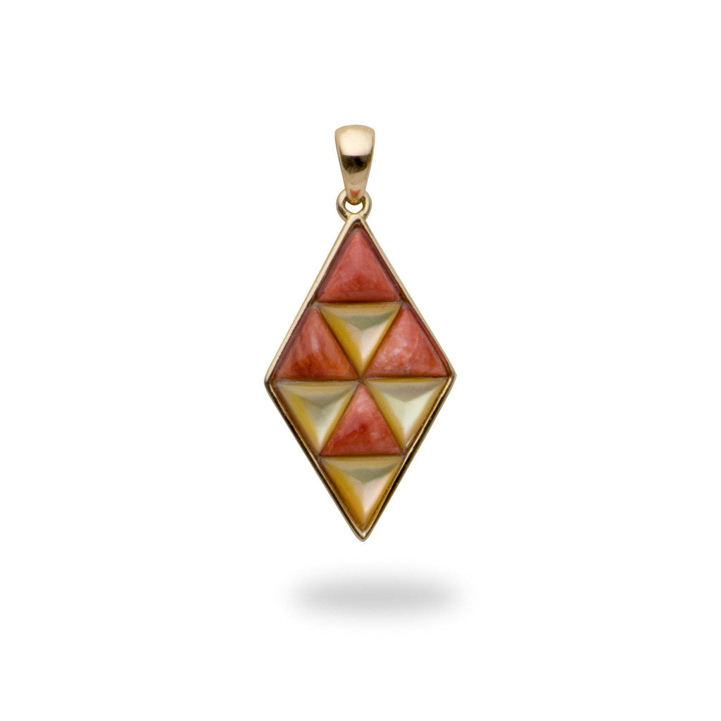 Red Spiny Oyster and Golden Mother Pendant in 14K Yellow Gold