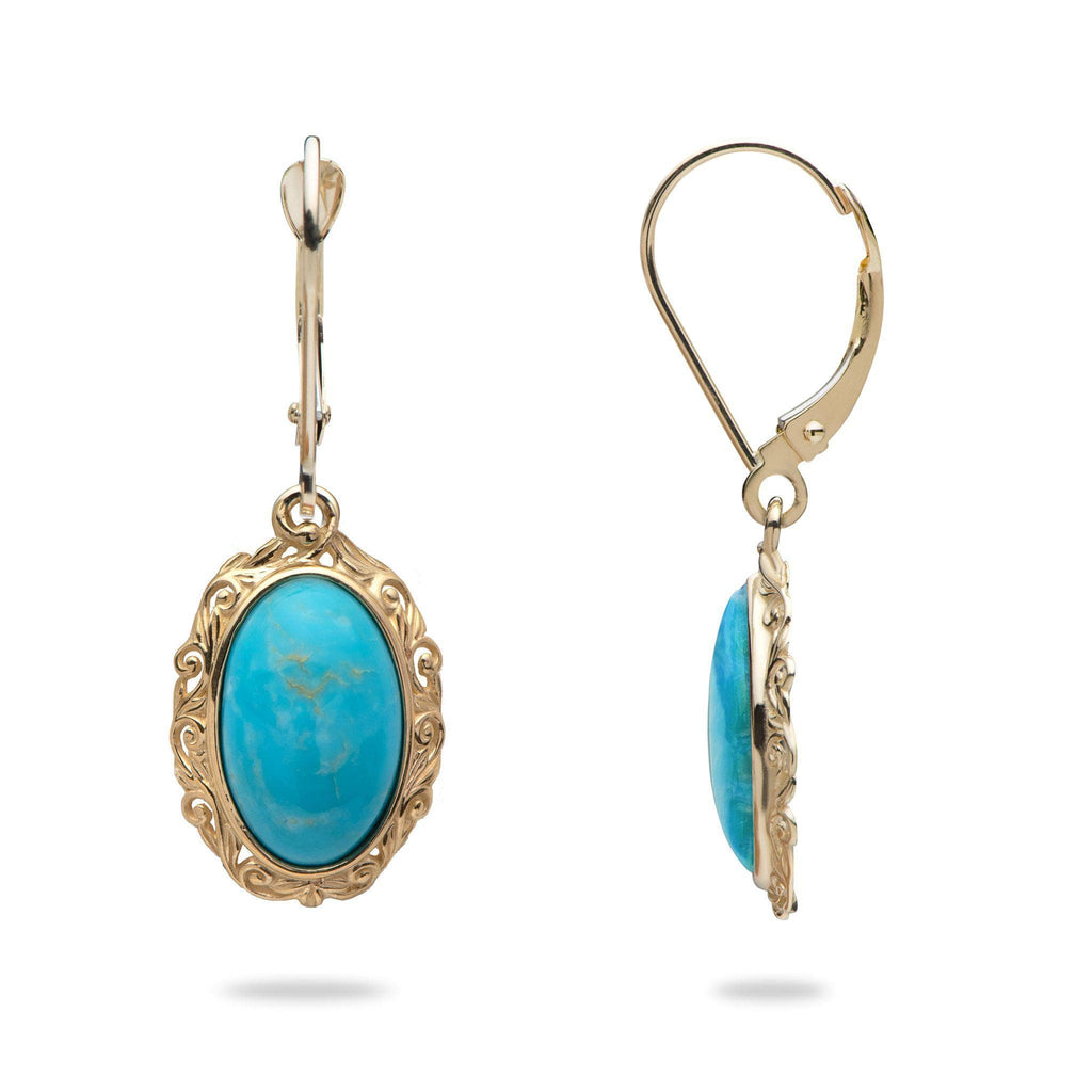 Turquoise Earrings in 14K Yellow Gold - Small