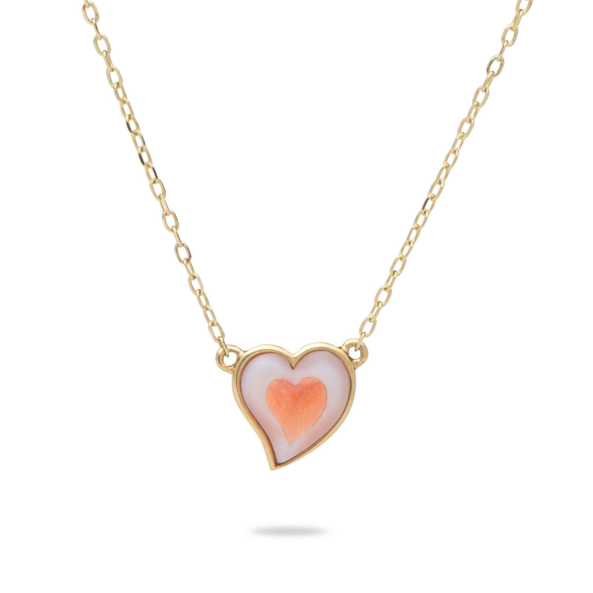 Pink Mother of Pearl and Red Spiny Oyster Necklace in 14K Yellow Gold