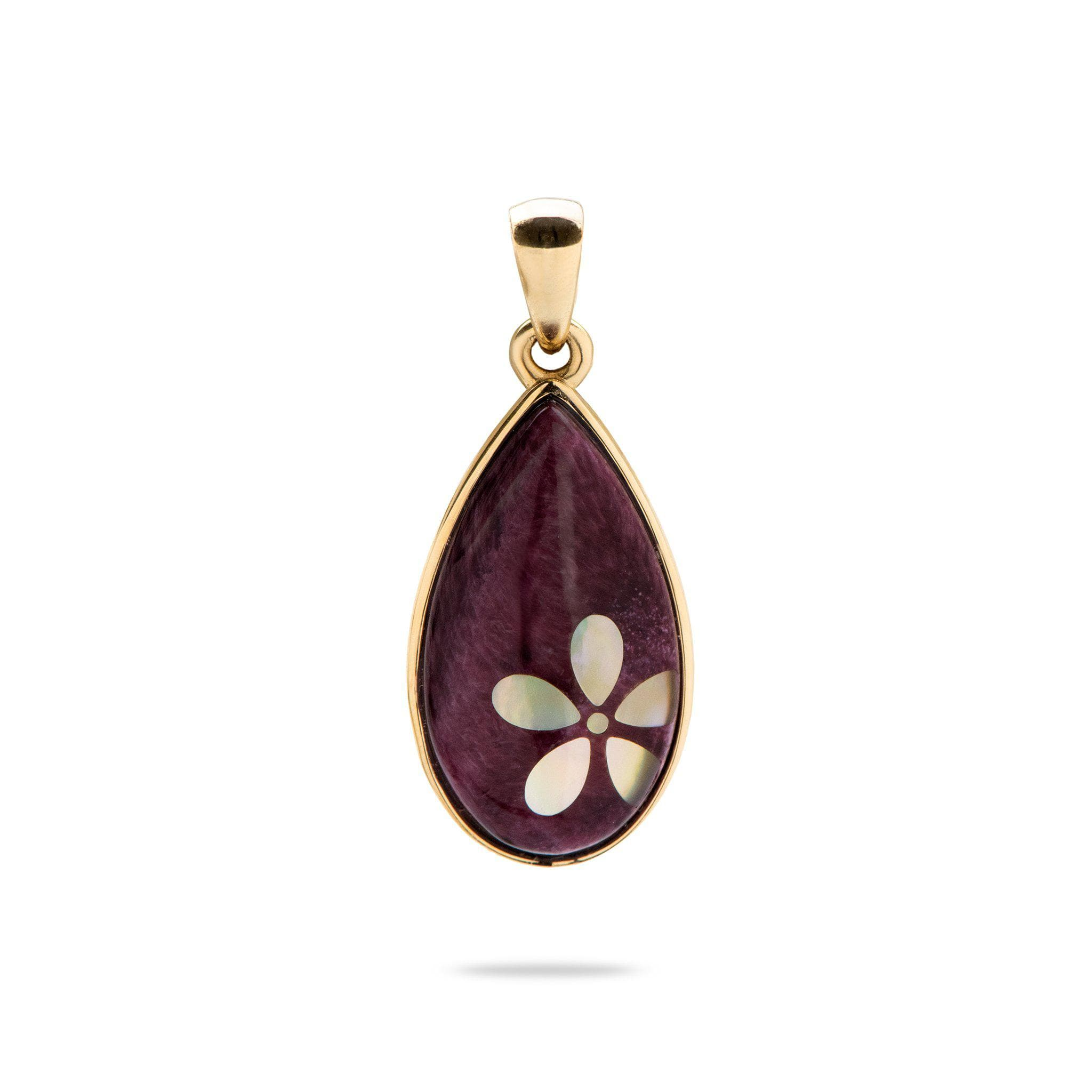 Purple Spiny Oyster and Mother of Pearl Pendant in 14K Yellow Gold
