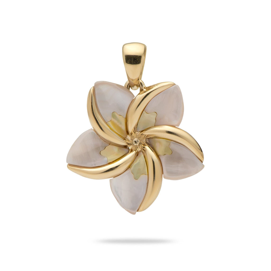 Plumeria Mother of Pearl Pendant in 14K Yellow Gold - Maui Divers Jewelry